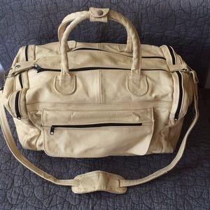 Handbags - Cream Leather Duffle/Carry-on Bag